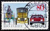 Postage Stamp Germany 1986 Benz Tricycle, Saloon Car