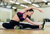 fitness, sport, training, gym and lifestyle concept - stretching young woman with earphones in the g