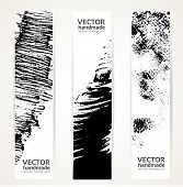 Vertical Abstract Handdrawing By Black Ink Banner Set