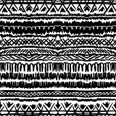Ethnic pattern in black and white with stripes.