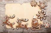 Christmas cake in the shape of a deer, Santa's sleigh, snowman