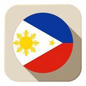 Philippines Flag Button Icon Modern
