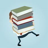 businessman carrying a stack of books