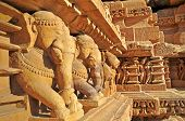 picture of khajuraho  - Elephant sculptures on the wall at Vishvanatha Temple  - JPG