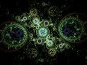 Colorful Clockwork Pattern, Digital Fractal Art Design