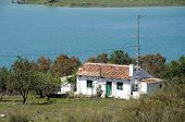 Cottage by lake, Ardales, Spain.