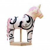 Hand Made Soft Toy Horse Isolated On White With Pink On The Stand