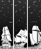 Vertical Banners Of Sailing Ships With Birds.