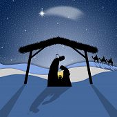 stock photo of desert christmas  - an illustration of Nativity scene with Joseph - JPG