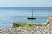 Moored Yacht Off Brighton Marina. England