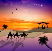 image of magi  - an illustration of Nativity scene with Magi on camels - JPG