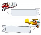 stock photo of biplane  - Vector Cartoon Biplane with banner - JPG