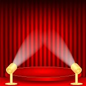Theatrical Background.scene And Red Curtains.scene Illuminated Floodlights.red Podium On A Backgroun