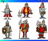 Cartoon Fantasy Knights Characters Set