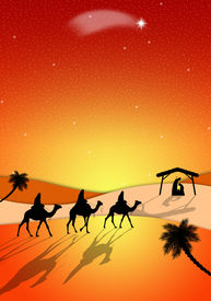 stock photo of magi  - an illustration of Nativity scene with Magi on camels - JPG