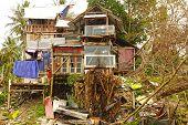 Old hut at Black Sand Beach. Langkawi, Malaysia