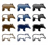 stock photo of tapir  - Tapir cartoon icon set with color and style variations - JPG