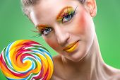 Extremely beauty colorful lollipop comes with matching makeup
