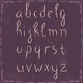 Alphabet On Wooden Background, Vector
