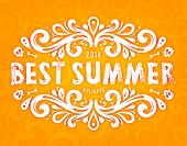 Summer Design with Floral Pattern. Best Summer Holidays Lettering. Orange Seamless Scrolls Background.