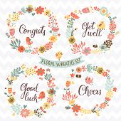 Four stylish floral design elements with modern text. Gentle floral cards with vintage flowers and cartoon birds in summer colors