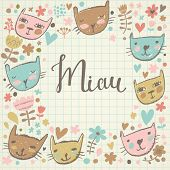 Cute childish card with cats and flowers in vector