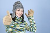 Happy Winter Girl Give Thumbs Up