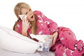 Woman Pink Pajamas Tissue Wipe Eye