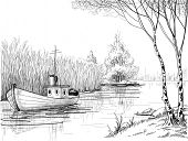 Nature sketch, boat on river or delta