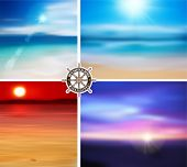 Vector. Summer Designs set. Blur Beach Background.