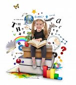 stock photo of formulas  - A young girl with glasses is reading a book with school icons such as math formulas animals and nature objects around her for an education concept on white - JPG