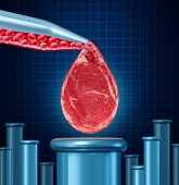 foto of unnatural  - Lab grown meat concept as laboratory equipment developing artifical beef by cultivating animal tissue in vtro resulting in cruelty free synthetic protien that is edible as a symbol of future food engineering technology - JPG