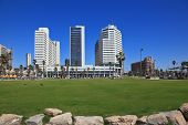 TEL AVIV, ISRAEL - MAY 2, 2014: The picturesque Tel Aviv embankment in sunny spring day. Modern magn