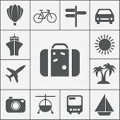 Vector silhouette travel icon set