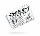 Folded newspaper presenting business news