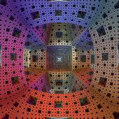 Multi-coloured interior of cubic shape called a 'Menger-Sierpinski sponge', (+fisheye-lens effect).