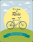 Vintage card illustrated a retro bicycle