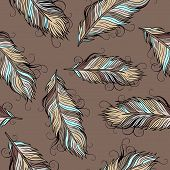 Vintage ethnic vector Feathers seamless pattern