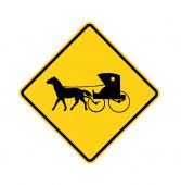 Road Sign Amish Buggy und Pferd