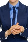 Closeup On Business Woman Clapping