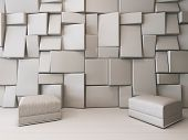 Picture of white empty room with rectangular tiles