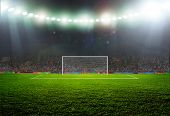 stock photo of lamp shade  - Soccer ball on the field of stadium with light  - JPG