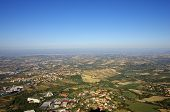 stock photo of apennines  - Top view on houses of San Marino and suburbs - JPG