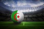 Football in algeria colours in large football stadium with lights