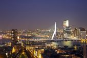 Erasmusbridge by night in Rotterdam the Netherlands