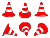 Set of red and white standing and fallen traffic-cones.