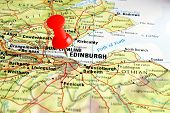 Edinburgh map with pin