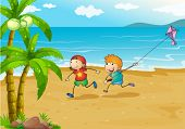 Illustration of the kids playing at the beach with their kite