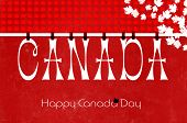 pic of canada maple leaf  - Happy Canada DayJuly 1 letters party bunting hanging from pegs on a line against a red and white background with maple leaves for greeting card or wallpaper - JPG