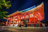 Night Scene of Sensoji Temple in Tokyo